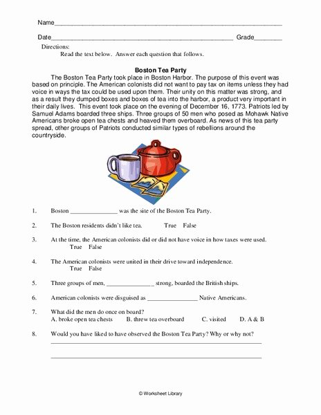 Boston Tea Party Worksheet New Boston Tea Party Worksheet for 4th 6th Grade