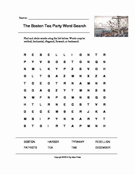 Boston Tea Party Worksheet New the Boston Tea Party Word Search Grades 2 5 by Big Ideas
