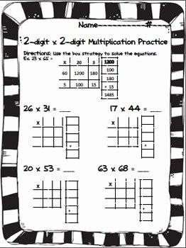 Box Method Multiplication Worksheet Elegant 2 Digit X 2 Digit Multiplication Practice Box Method area