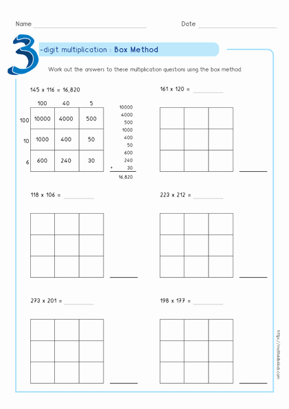Box Method Multiplication Worksheet Fresh Box Method Multiplication Worksheets Pdf