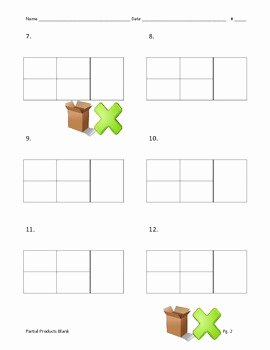 Box Method Multiplication Worksheet Inspirational Partial Products Blank Box Multiplication 2 Digit by 2