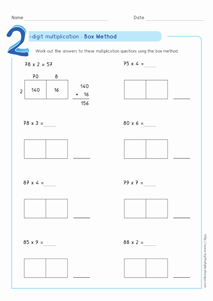 Box Method Multiplication Worksheet Lovely Box Method Multiplication 2 Digit Numbers Worksheets Pdf
