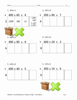 Box Method Multiplication Worksheet Lovely Box Method Multiplication Partial Products 3 by 1 24