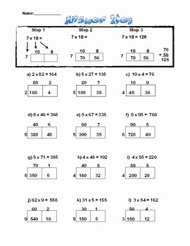 Box Method Multiplication Worksheet Lovely Box Method Multiplication Sheet 2×1 Digit by the Fours