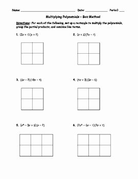 Box Method Multiplication Worksheet Luxury Multiplying Polynomials Box Method 1 by Brandi Earl