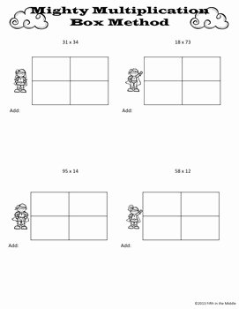 Box Method Multiplication Worksheet Unique Box area Method for Multiplication Practice Pages by Fifth