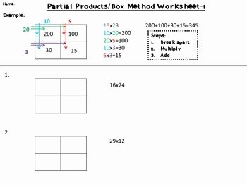 Box Method Multiplication Worksheet Unique Partial Products Box Method 2×2 Digit Multiplication by