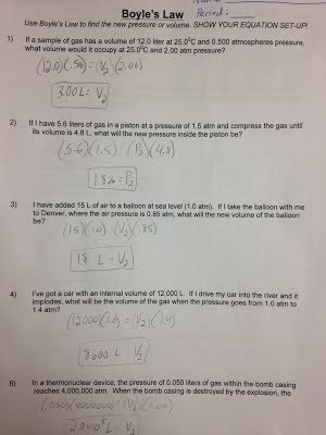 Boyle's Law Worksheet Answer Key Inspirational assignments Labs Erhs Chemistry with Mr Stagg