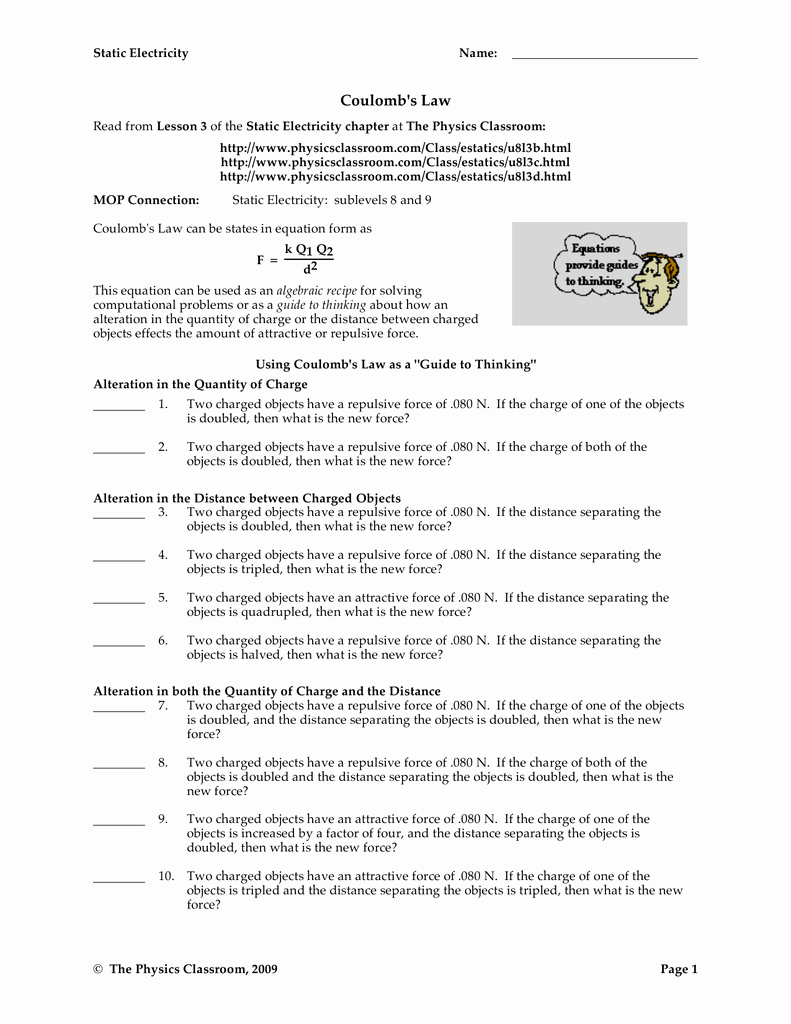 Boyle's Law Worksheet Answer Key Unique Worksheet Coulombs Law Answer Key Physics Fundamentals