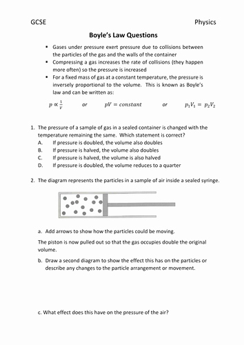 Boyle's Law Worksheet Answers Awesome Boyle S Law Questions for Gcse by Justinclements
