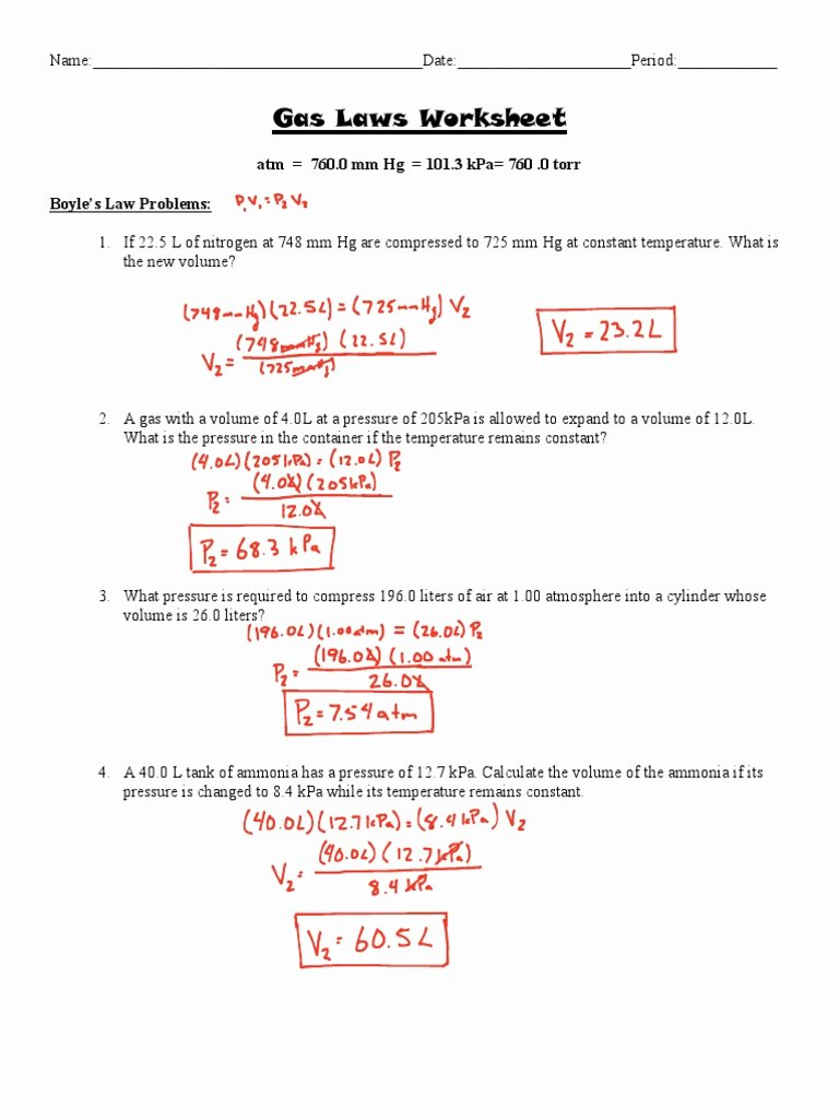 Boyle's Law Worksheet Answers Beautiful Gas Laws Worksheet Answer Key Gases