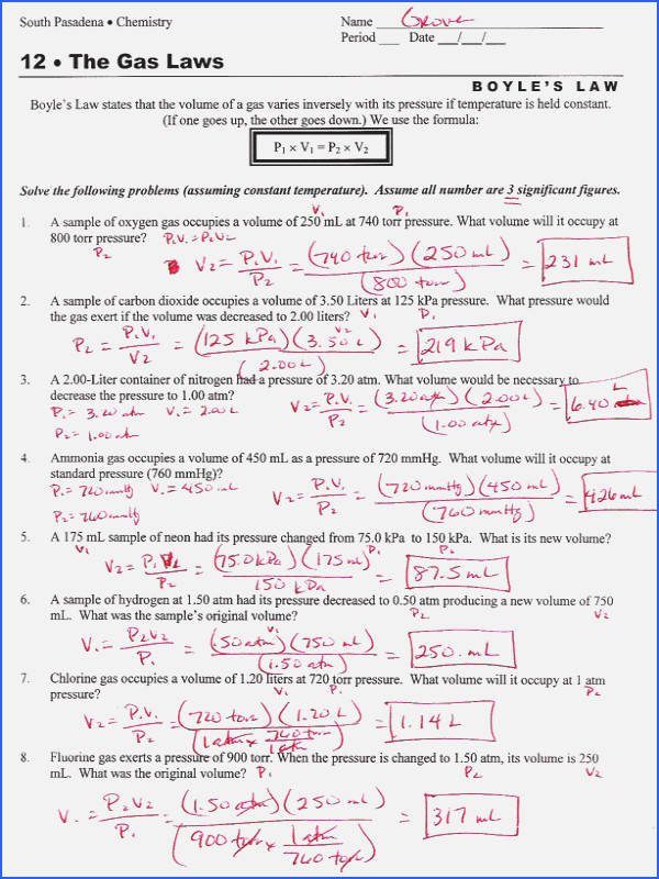 Boyle's Law Worksheet Answers Elegant Charles Law Worksheet Answers Siteraven
