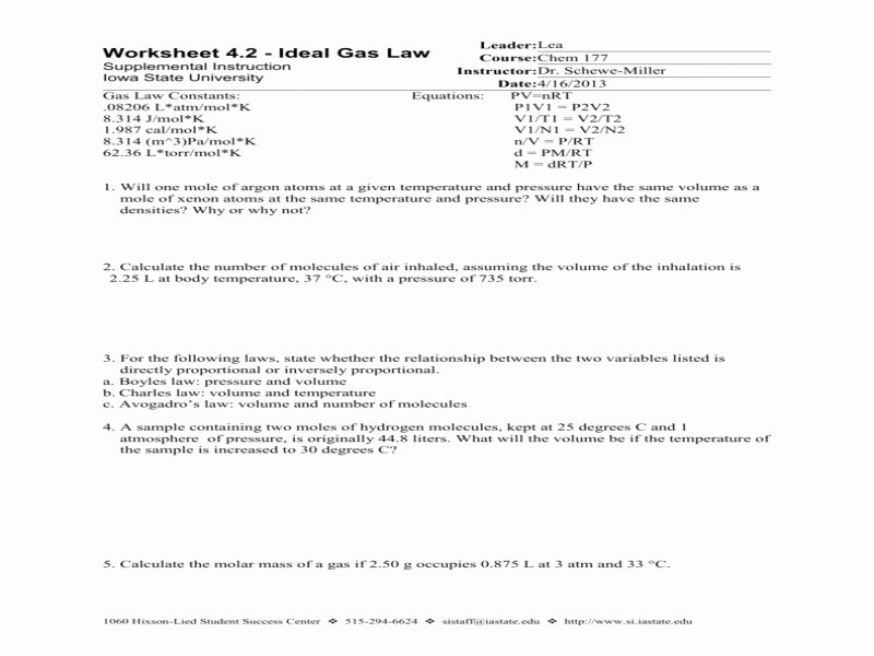 Boyle's Law Worksheet Answers Luxury Boyle S Law Worksheet Free Printable Worksheets