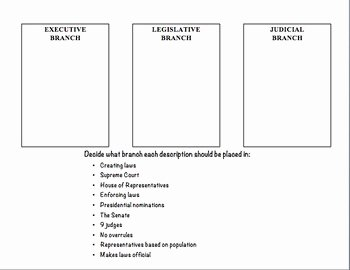 Branches Of Government Worksheet Inspirational Three Branches Of Government sort Worksheet by Rachel