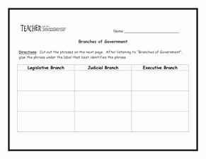 Branches Of Government Worksheet New Branches Of Government Worksheet for 5th 8th Grade