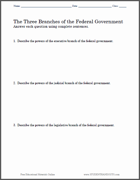 Branches Of Government Worksheet Pdf Awesome Three Branches Of Government Essay Questions