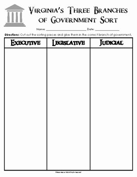 Branches Of Government Worksheet Pdf Elegant Virginia S Three Branches Of Government sort Vs 10a