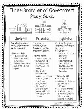 Branches Of Government Worksheet Pdf Inspirational Three Branches Of Government Study Guide & Quizzes by