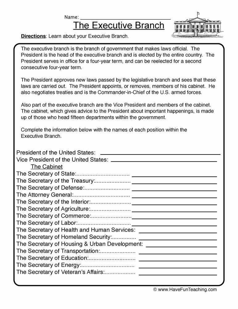 Branches Of Government Worksheet Pdf Luxury Executive Branch Worksheet 1