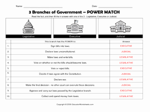 Branches Of Government Worksheet Pdf Unique 3 Branches Of Government Power Match Worksheet for 5th