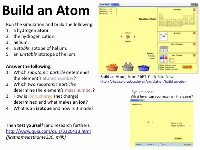 Build An atom Worksheet Answers Elegant atoms and Bonding