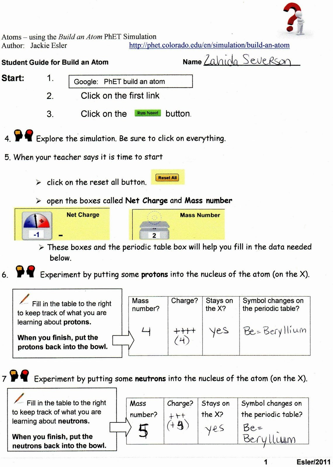 Build An atom Worksheet Answers Elegant Tester for Chem 105 January 2014