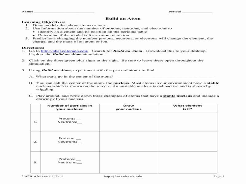 Build An atom Worksheet Answers New Phet Build An atom Worksheet Answers