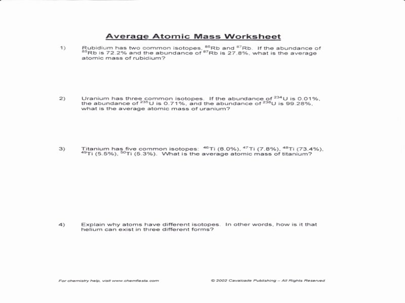 Calculating Average atomic Mass Worksheet Awesome Calculating Average atomic Mass Worksheet Answers Free