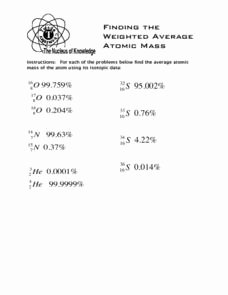 Calculating Average atomic Mass Worksheet Best Of Weighted Average Lesson Plans & Worksheets