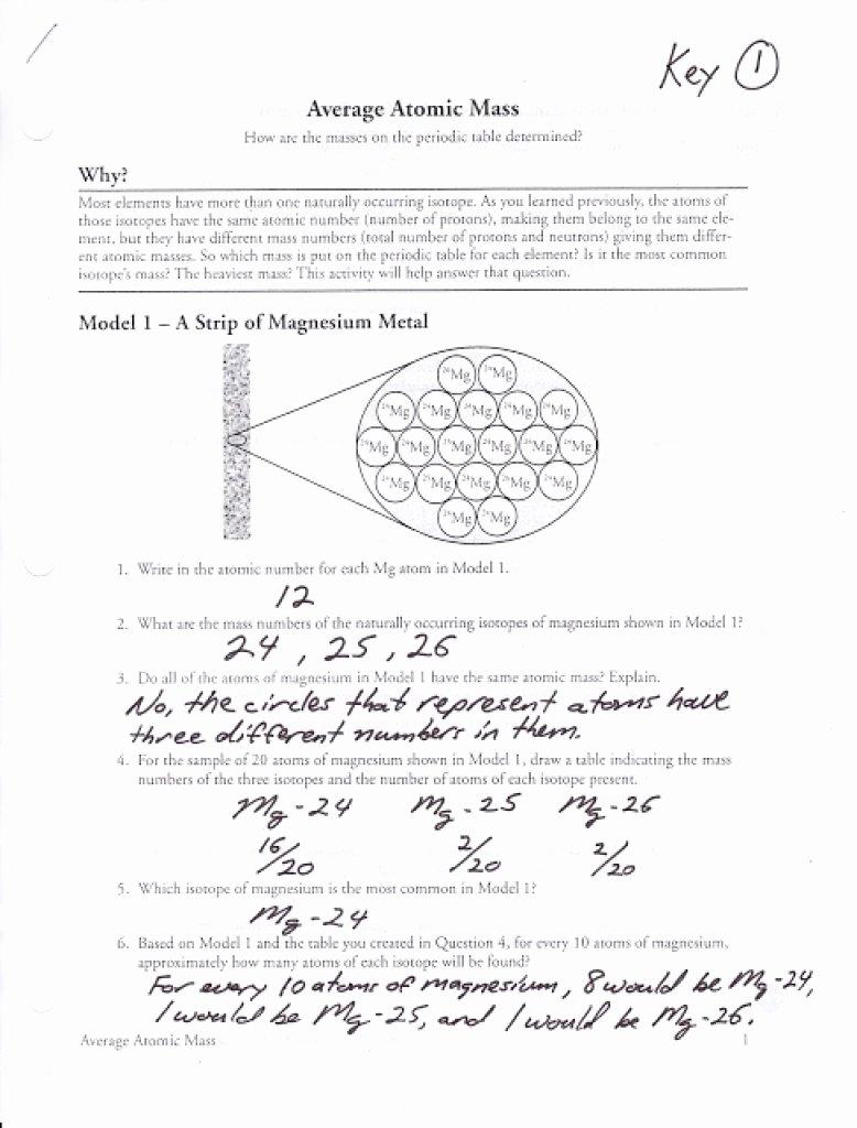 Calculating Average atomic Mass Worksheet Elegant Calculating atomic Mass Worksheets Answers