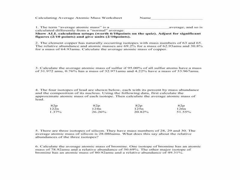 Calculating Average atomic Mass Worksheet Elegant Calculating Average atomic Mass Worksheet Answers Free
