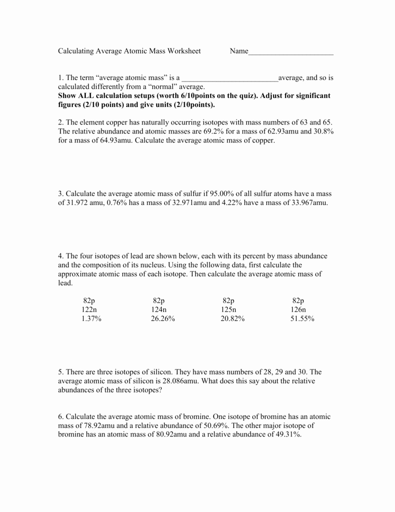 Calculating Average atomic Mass Worksheet Fresh Calculating Average atomic Mass Worksheet Name