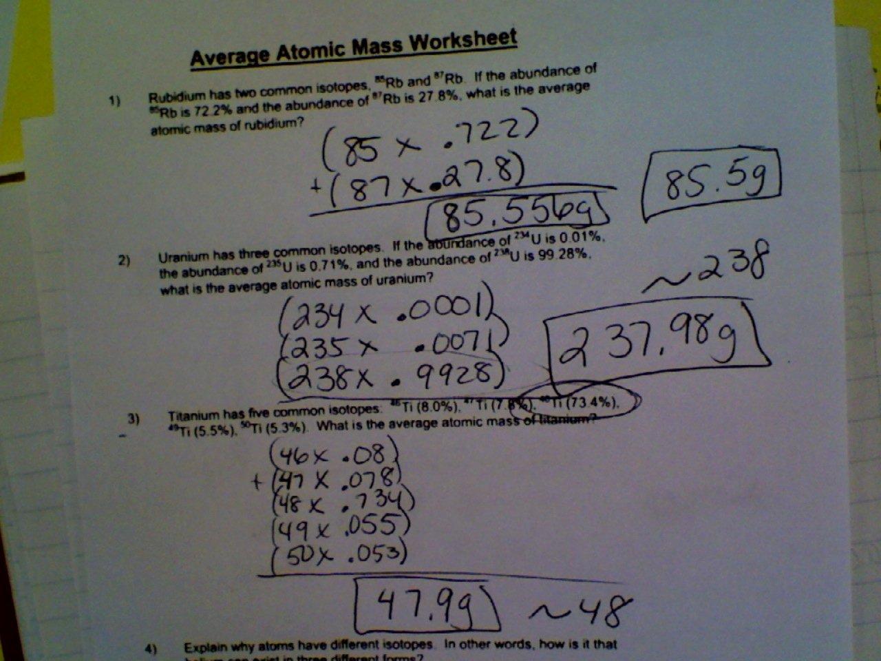 Calculating Average atomic Mass Worksheet Lovely Average atomic Mass Worksheet More