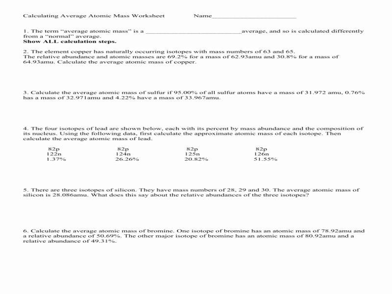 Calculating Average atomic Mass Worksheet Lovely Calculating Average atomic Mass Worksheet Answers Free