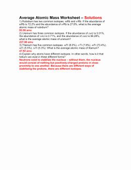 Calculating Average atomic Mass Worksheet Luxury Average atomic Mass Worksheet
