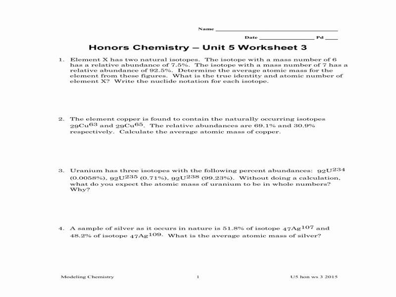 Calculating Average atomic Mass Worksheet New Calculating Average atomic Mass Worksheet Answers Free