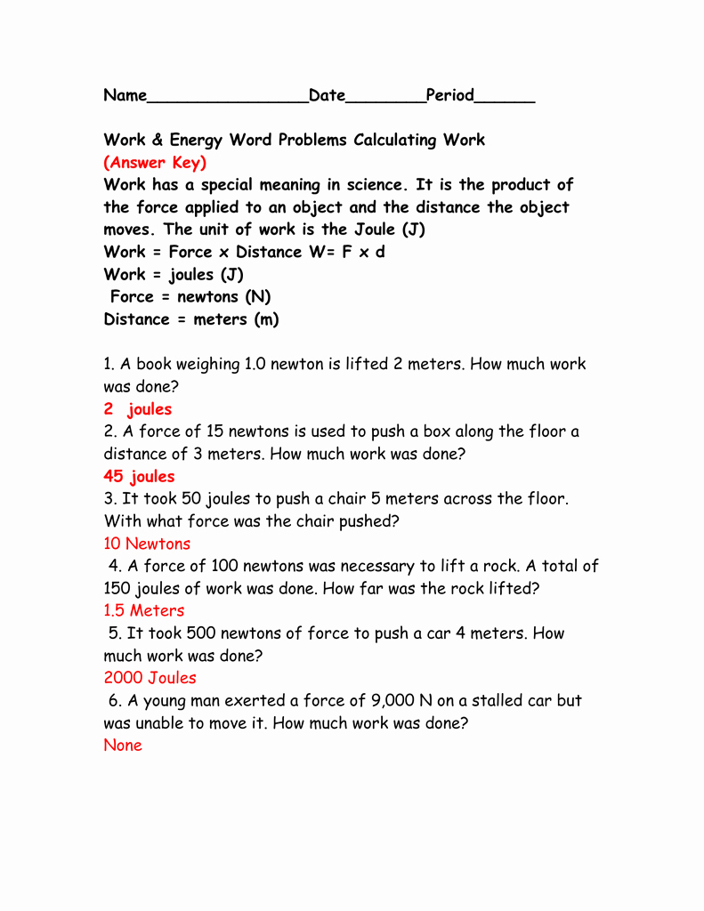 Calculating force Worksheet Answers Awesome Calculating Work Worksheet Answer Key