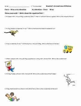 Calculating force Worksheet Answers Fresh Calculate force and Acceleration Worksheets 2 Motion