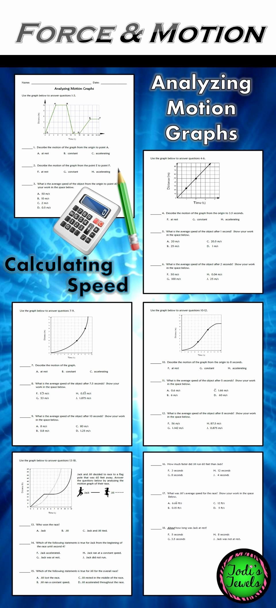 Calculating force Worksheet Answers New Analyzing Motion Graphs & Calculating Speed Ws