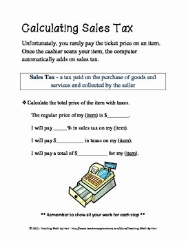 Calculating Sales Tax Worksheet Fresh In My Dreams Activity 1 – Calculating Sales Tax and