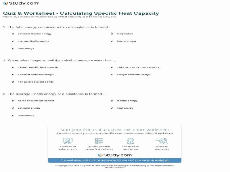 Calculating Specific Heat Worksheet Elegant Calorimetry Worksheet