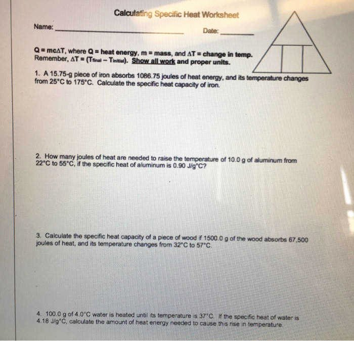 Calculating Specific Heat Worksheet Fresh Specific Heat Worksheet