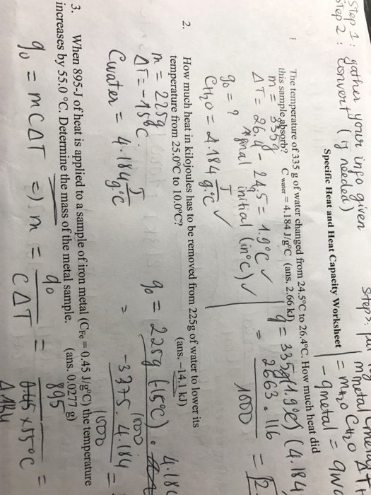 Calculating Specific Heat Worksheet Inspirational solved the Temperature 335 G Water Changed From 24