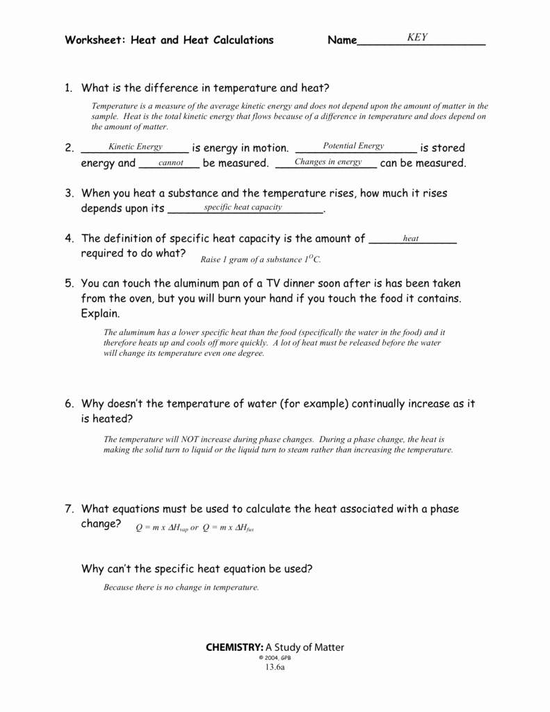 Calculating Specific Heat Worksheet Inspirational Worksheet Heat and Heat Calculations