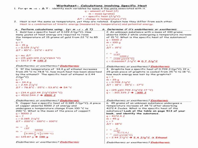 Calculating Specific Heat Worksheet Luxury Specific Heat Worksheet