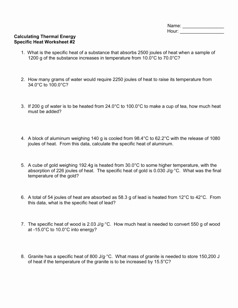 Calculating Specific Heat Worksheet New Specific Heat Worksheet 2