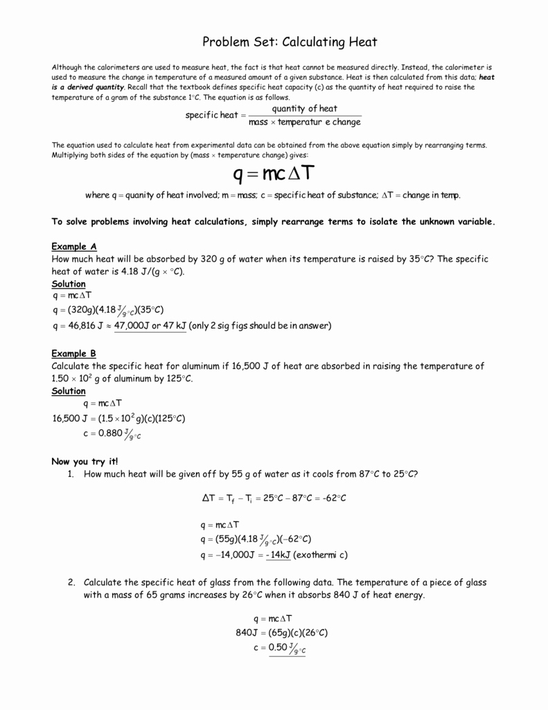 Calculating Specific Heat Worksheet Unique Equation for Heat Energy Tessshebaylo