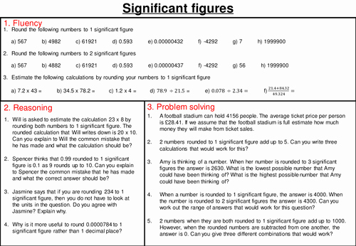 Calculations Using Significant Figures Worksheet Unique Rounding to Significant Figures Mastery Worksheet by