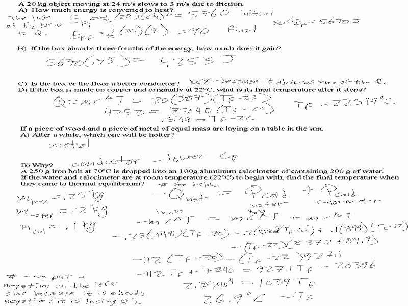 Calorimetry Worksheet Answer Key Awesome Calorimetry Worksheet
