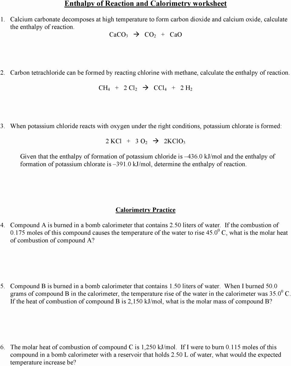 Calorimetry Worksheet Answer Key Awesome Enthalpy Of Reaction and Calorimetry Worksheet Pdf